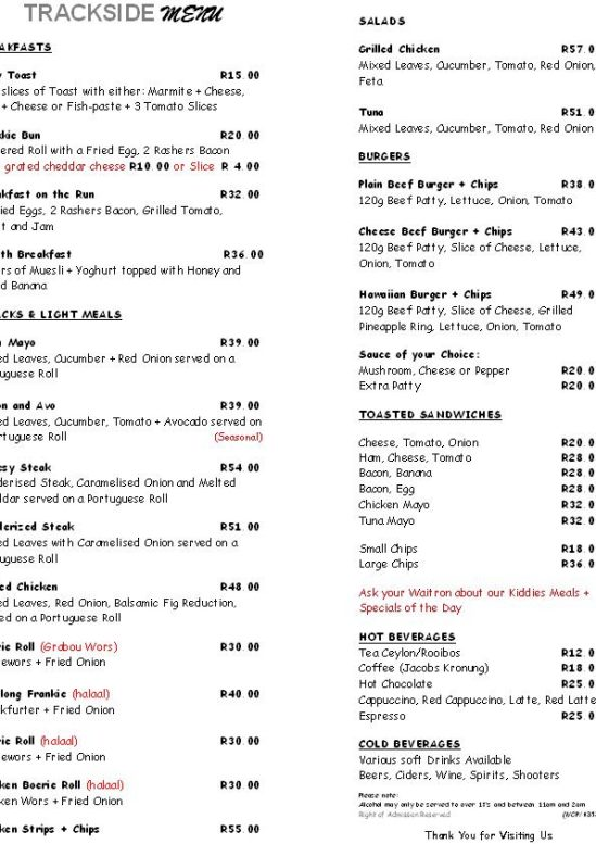 Trackside Day to Day Menu May 2018